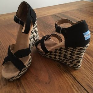 Toms Mixed Rope Wedge Sandals Size 8